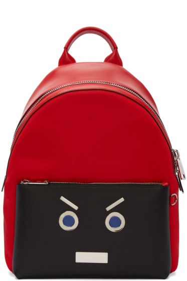 Fendi - Red 'Fendi Faces' Backpack