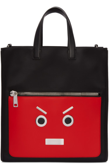 Fendi - Black & Red 'Fendi Faces' Tote