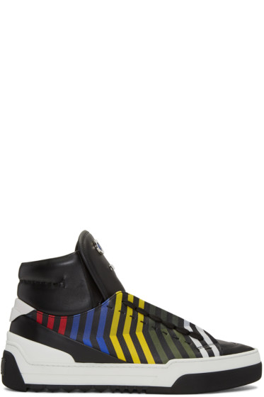 Fendi - Black 'Fendi Faces' Zig Zag High-Top Sneakers