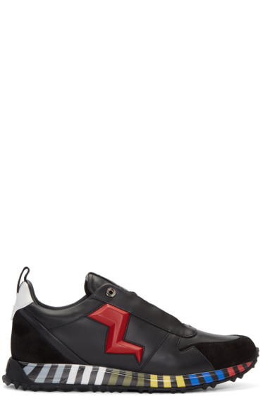 Fendi - Black & Red Leather Bolt Sneakers