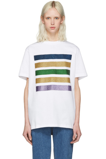 Palm Angels - White Glitter Five Stripes T-Shirt