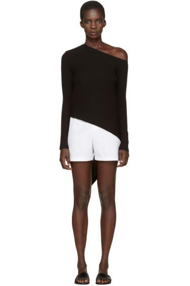 Rosetta Getty - Black Spiral Single-Shoulder T-Shirt