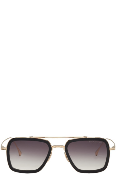 Dita - Black & Gold Flight.006 Aviator Sunglasses