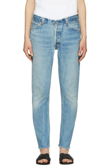Re/Done - Blue Relaxed Crop Jeans