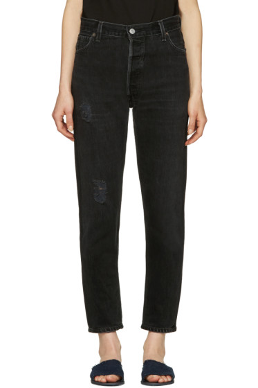 Re/Done - Black  Distressed High Rise Ankle Crop Jeans