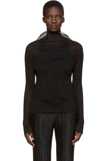 Issey Miyake - Black Sheer Twisted Turtleneck
