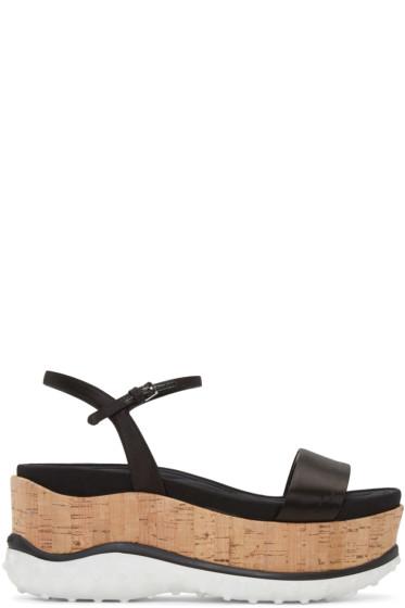 Miu Miu - Black Satin Platform Sandals