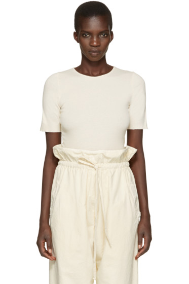 Lauren Manoogian - Off-White Cotton & Cashmere T-Shirt