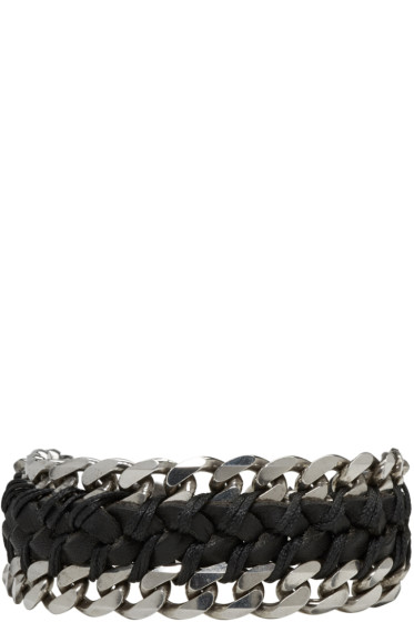 Emanuele Bicocchi - Black Braided Leather & Chain Bracelet