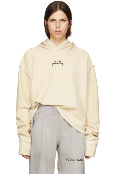 A-Cold-Wall* - Reversible Beige Oversized Logo Hoodie