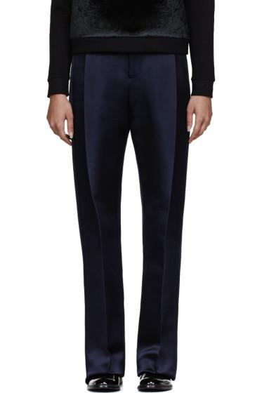 Christopher Kane - Navy Double Tuck Silk-Satin Trouser