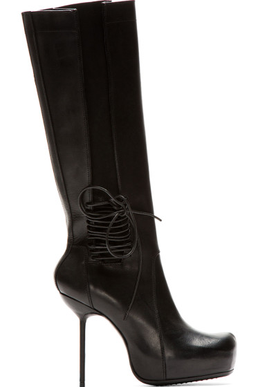 Rick Owens - Black Leather Stiletto Wader Boots