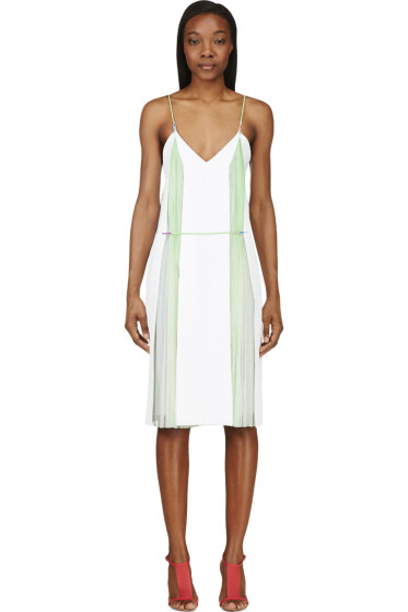 Christopher Kane - White & Mint Green Double Pleat Cami Dress