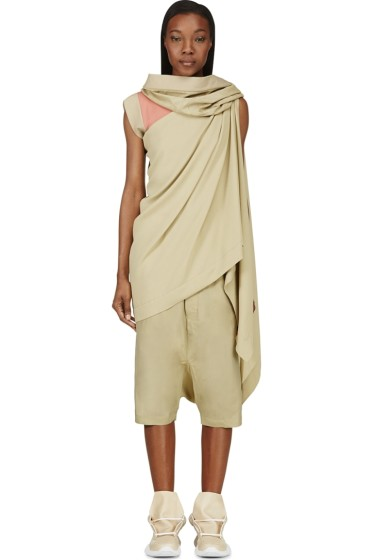 Rick Owens - Green Crepe & Suede Sleeveless Toga Blouse
