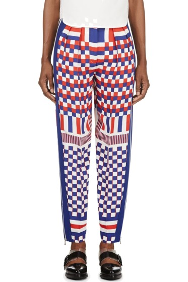 Alexander McQueen - Blue Check & Stripe Print Trousers