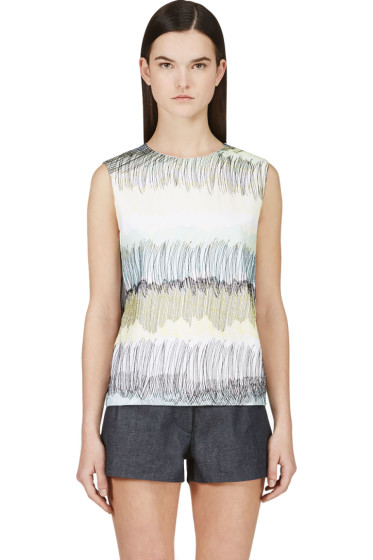 Kenzo - White & Yellow Embroidered Scribble Tank Top