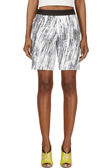 Kenzo - White & Grey Sequined High Waves Shorts