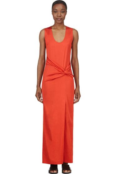 Cédric Charlier - Orange Twisted Knot Maxi Dress
