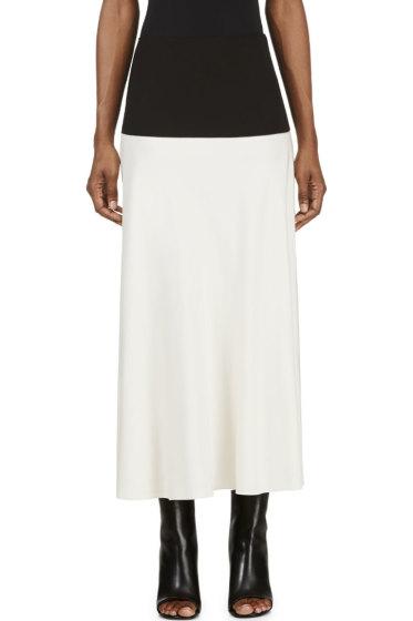 Cédric Charlier - Ivory & Black Side Slit Skirt