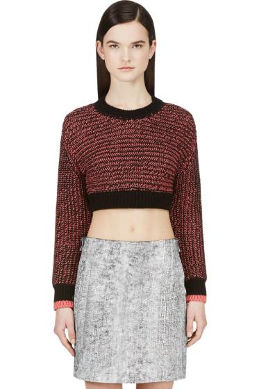 Cédric Charlier - Black & Pink Knit Crop Sweater