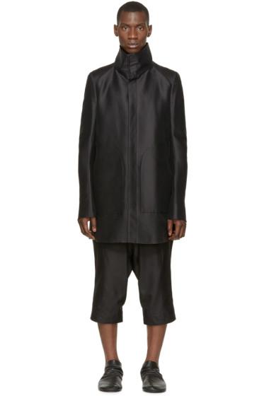 Thamanyah - Black Funnel Collar Coat