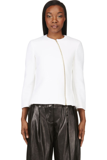 Calvin Klein Collection - Ivory Neoprene Tafari Zip Jacket