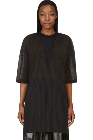 Calvin Klein Collection - Charcoal Grey Micro Pleat Intarsia Oversize Top