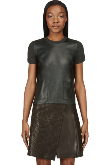 Calvin Klein Collection - Deep Green Leather & Cashmere Michelle T-Shirt