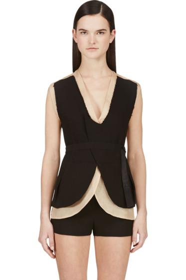 Costume National - Nude & Black Layered Backless Vest