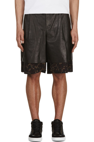 Yang Li - Black Leather & Tapestry Layered Shorts