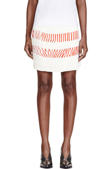 Maiyet - White Silk Printed Pleated-Paneled Skirt