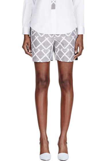 Maiyet - White Silk Printed Pleated Waist Shorts