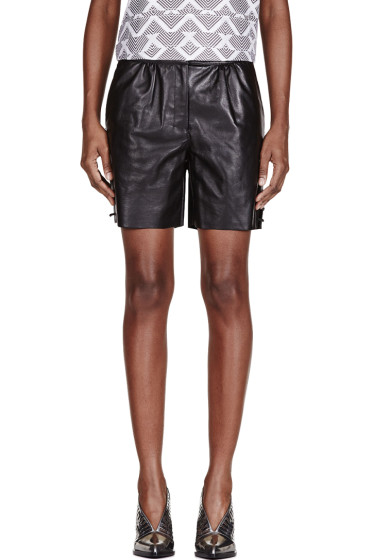 Maiyet - Black Leather Straight Shorts