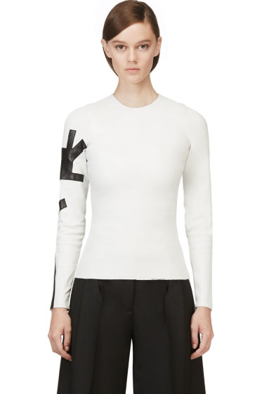 Acne Studios - White Leather Long Sleeve Mercy Top