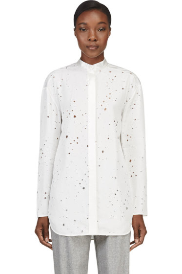 Alexander Wang - Ivory Distressed Keyhole Tie Blouse