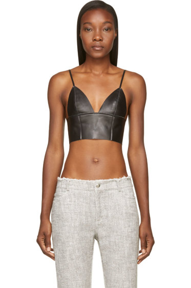 T by Alexander Wang - Black Leather Raw-Edged Triangle Bralette