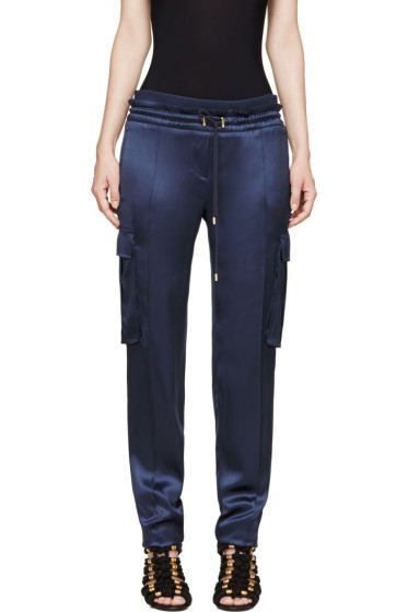 Balmain - Blue Silk Cargo Trousers