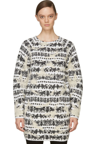 Alexander McQueen - Black & White Distressed Motif Sweater Dress