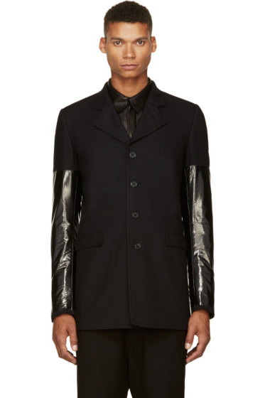 Damir Doma - Black Wool & Nylon Sleeve Blazer