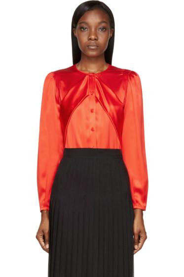Givenchy - Red Silk Sash Blouse