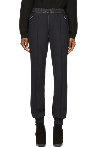 Juun.J - Navy Wool & Black Leather Lounge Pants