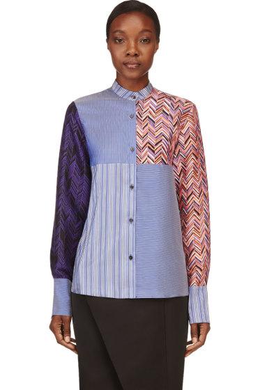 Roksanda - BLue Silk Multi-Print Lorrimore Shirt