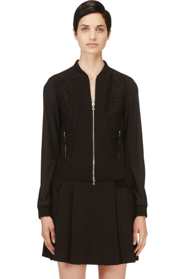 Nina Ricci - Black Lace Panelled Bomber Jacket