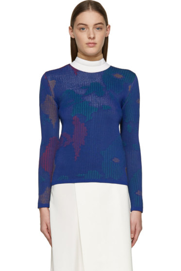J.W.Anderson - Indigo & Red Jacquard Floral Sweater