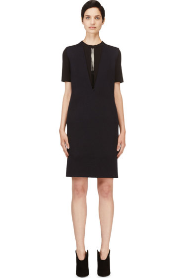 Calvin Klein Collection - Navy Cashmere Plaited Tech Nuria Dress