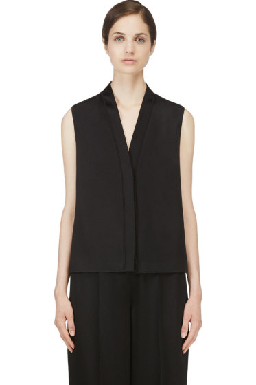 Calvin Klein Collection - Black Hammered Satin Wayne Blouse