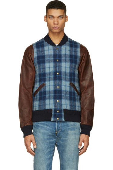 Visvim - Blue Plaid & Leather Brainstorm Bomber