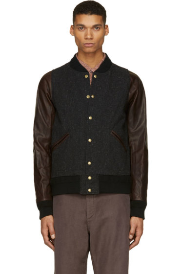 Visvim - Black Tweed & Leather Barnstorm Bomber