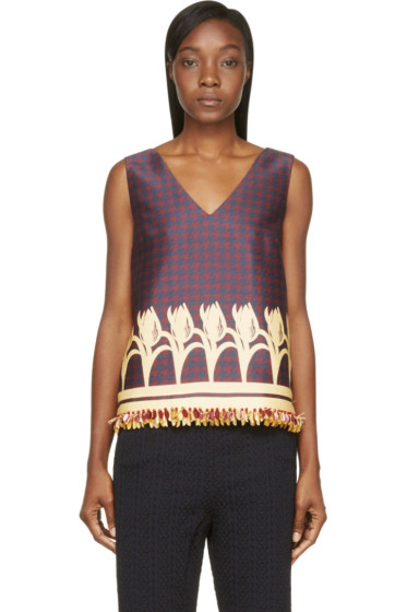 Mother of Pearl - Navy & Burgundy Sleeveless Wynn Blouse