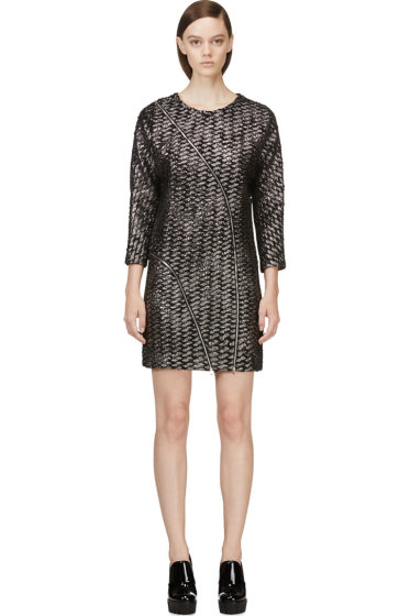 Jay Ahr - Black & Silver Metallic Tweed Dress
